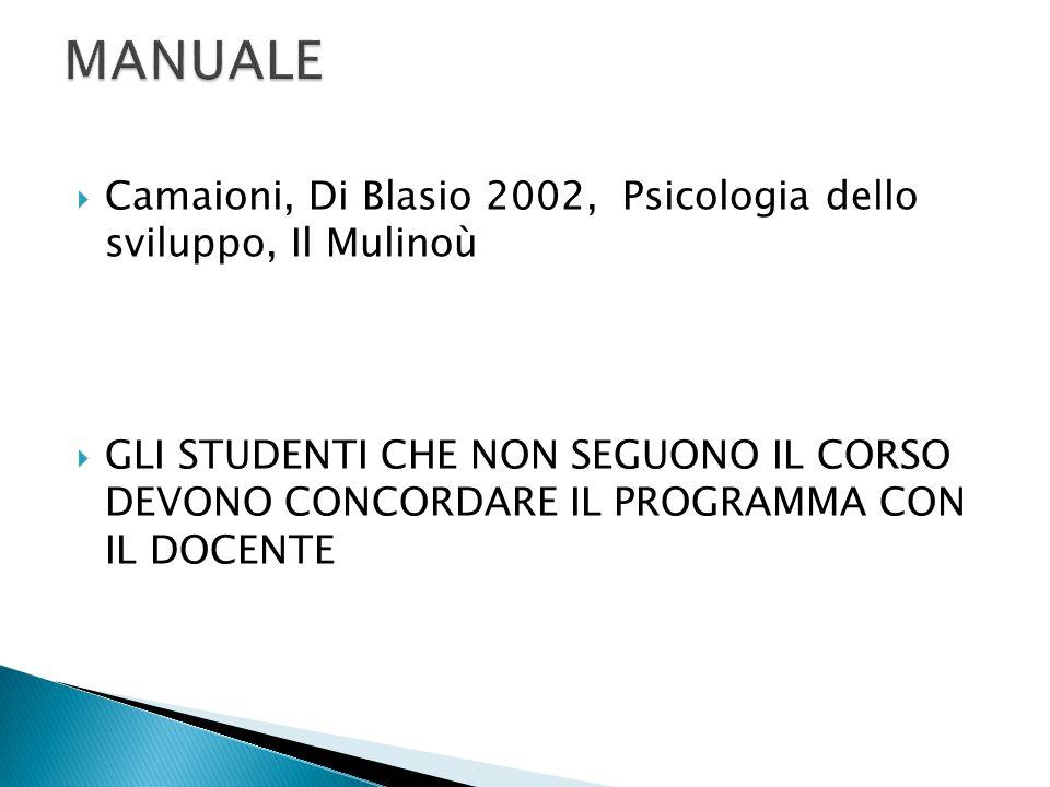 MANUALE Camaioni, Di Blasio 2002, Psicologia dello sviluppo, Il Mulinoù.