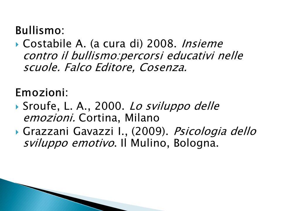 Bullismo: Costabile A. (a cura di) 2008. Insieme contro il bullismo:percorsi educativi nelle scuole. Falco Editore, Cosenza.