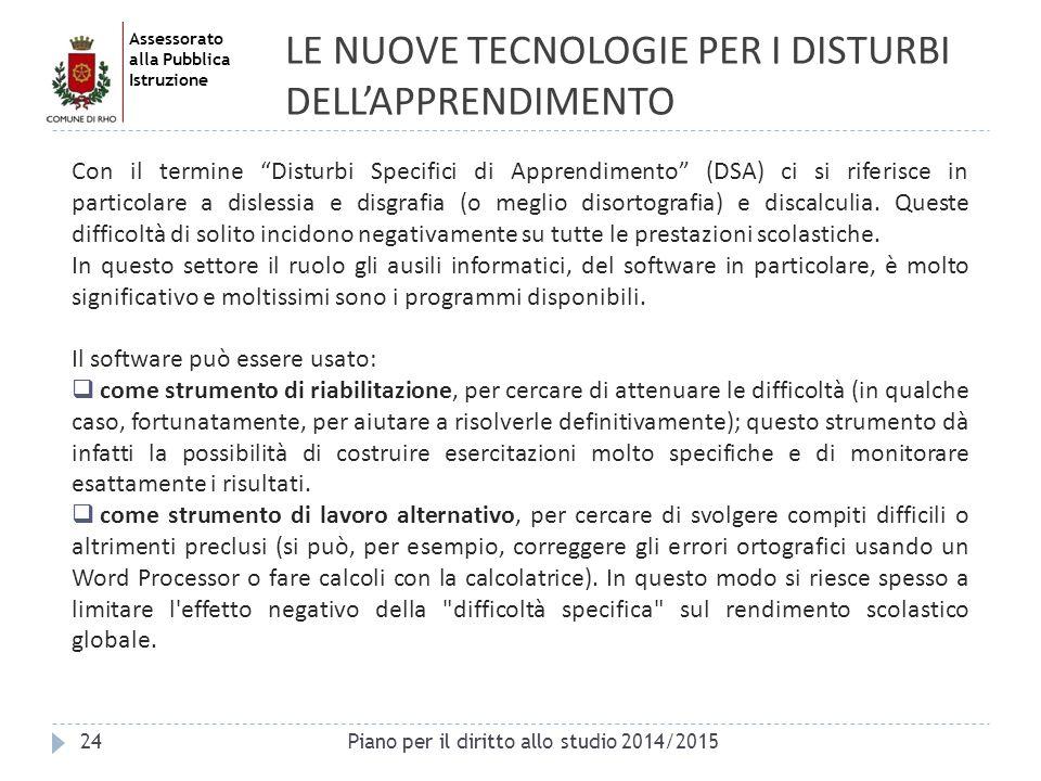 LE NUOVE TECNOLOGIE PER I DISTURBI DELL'APPRENDIMENTO