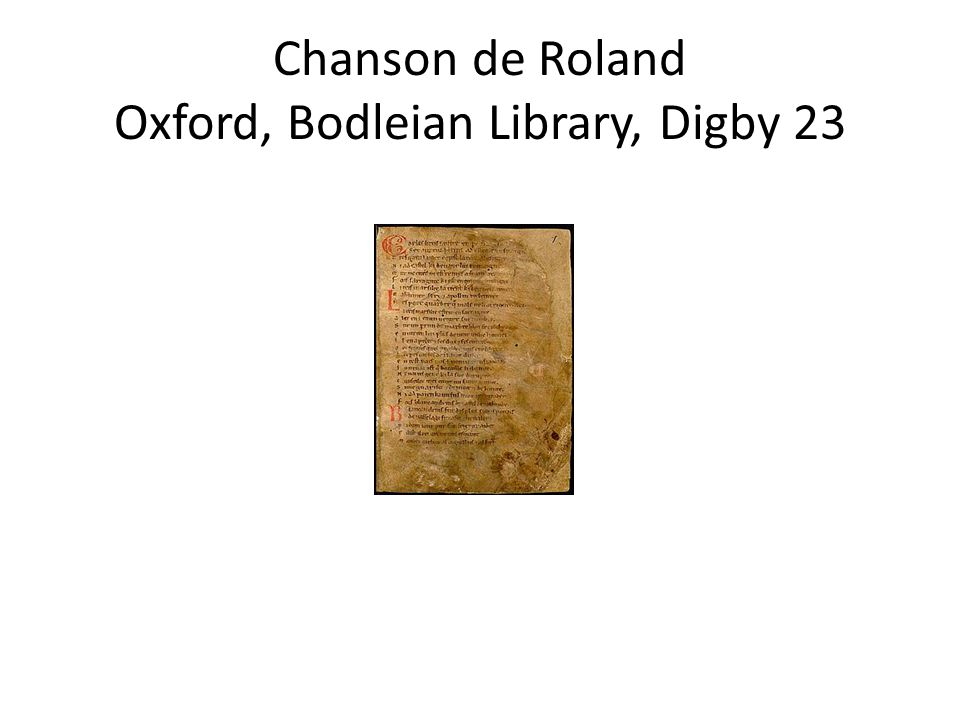 Chanson de Roland Oxford, Bodleian Library, Digby 23