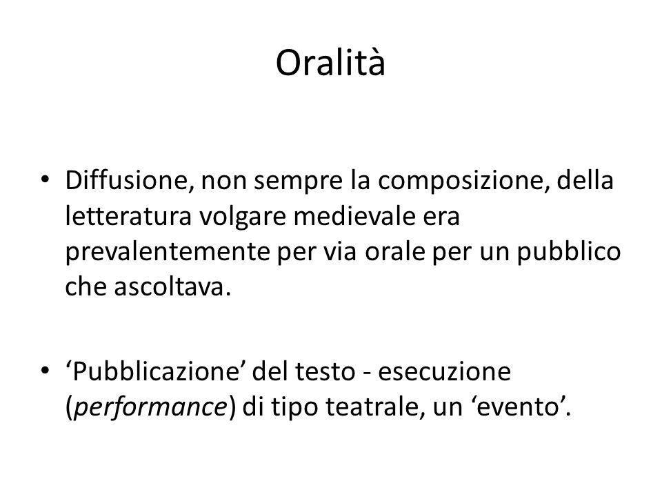 Oralità Diffusione, non sempre la composizione, della letteratura volgare medievale era prevalentemente per via orale per un pubblico che ascoltava.