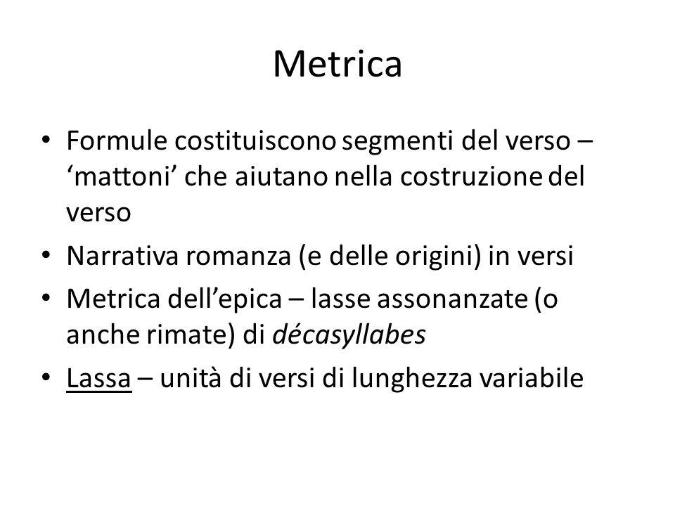 Metrica Formule costituiscono segmenti del verso – 'mattoni' che aiutano nella costruzione del verso.