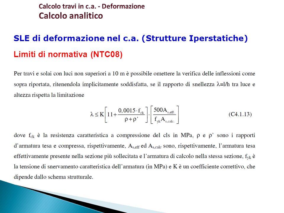 Calcolo analitico Limiti di normativa (NTC08)