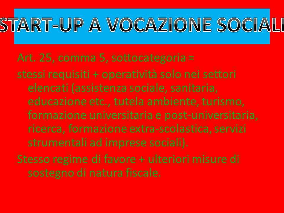 START-UP A VOCAZIONE SOCIALE