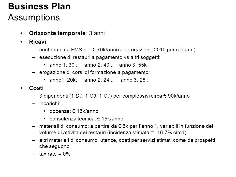 Business Plan Assumptions