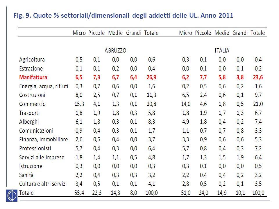 Fig. 9. Quote % settoriali/dimensionali degli addetti delle UL