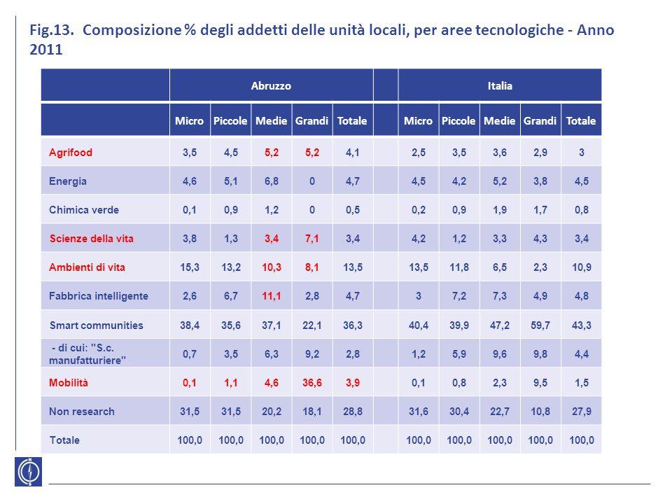 Fig.13. Composizione % degli addetti delle unità locali, per aree tecnologiche - Anno 2011