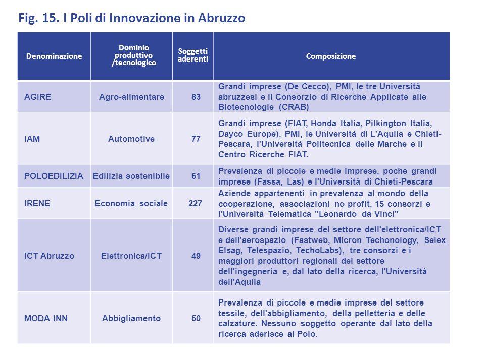 Fig. 15. I Poli di Innovazione in Abruzzo