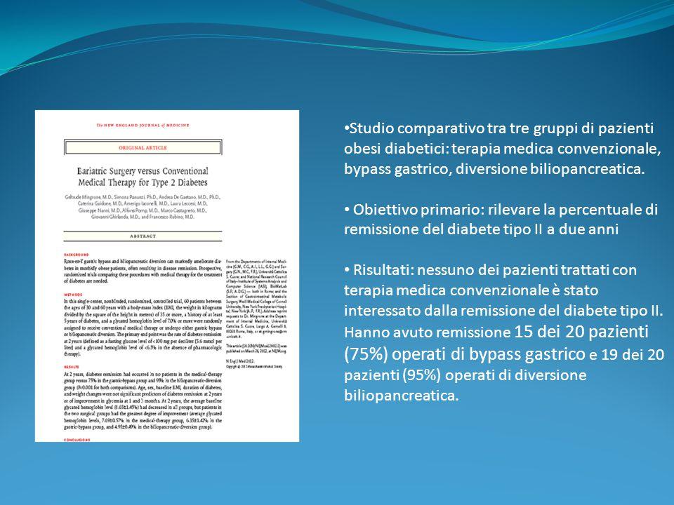 Studio comparativo tra tre gruppi di pazienti obesi diabetici: terapia medica convenzionale, bypass gastrico, diversione biliopancreatica.