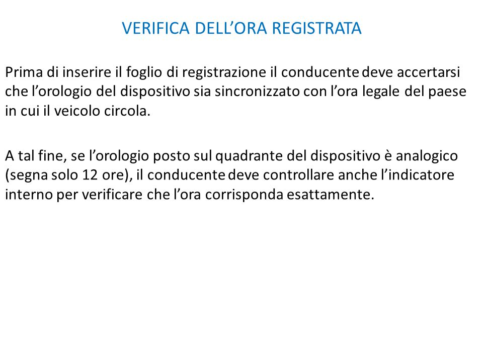 VERIFICA DELL'ORA REGISTRATA