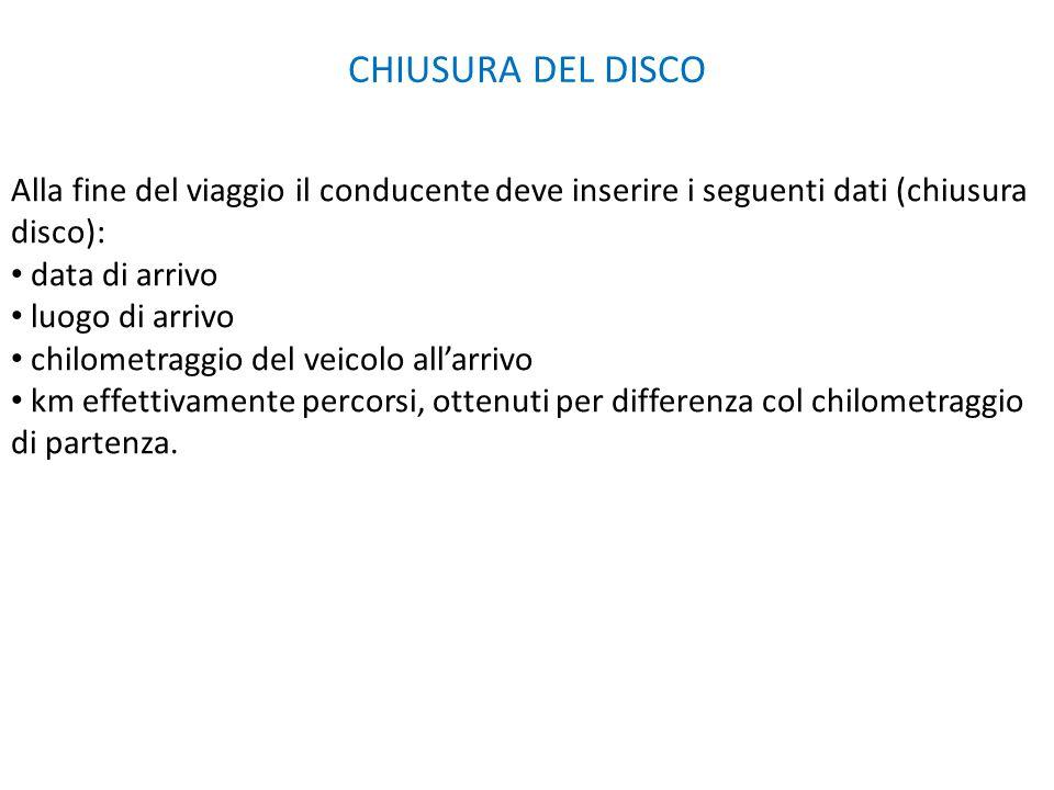 CHIUSURA DEL DISCO Alla fine del viaggio il conducente deve inserire i seguenti dati (chiusura disco):