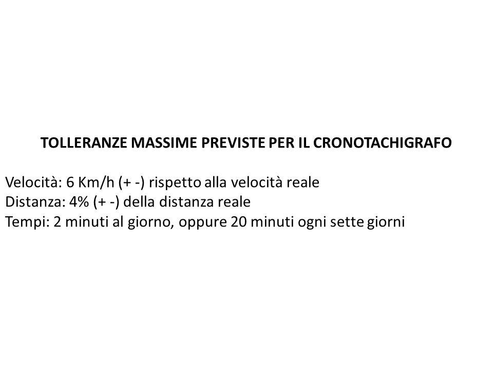 TOLLERANZE MASSIME PREVISTE PER IL CRONOTACHIGRAFO