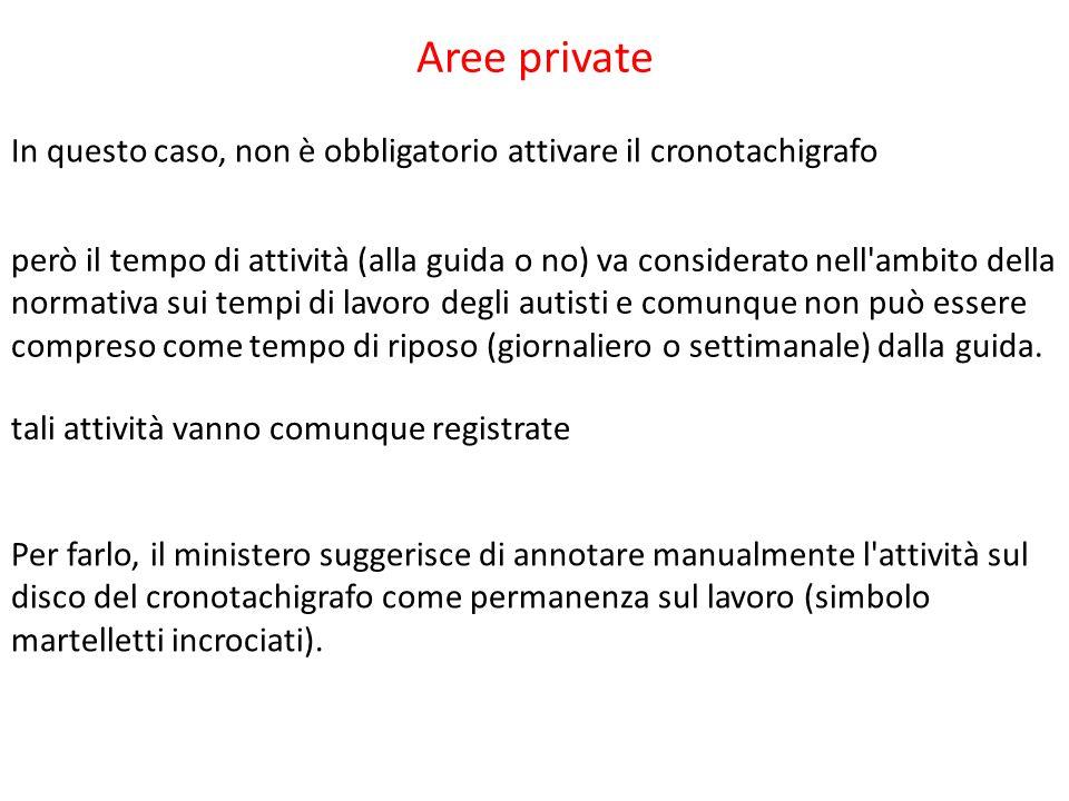 Aree private In questo caso, non è obbligatorio attivare il cronotachigrafo.