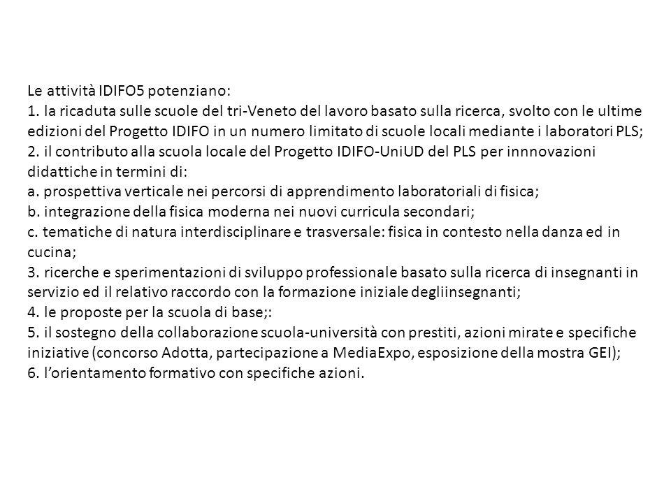 Le attività IDIFO5 potenziano: