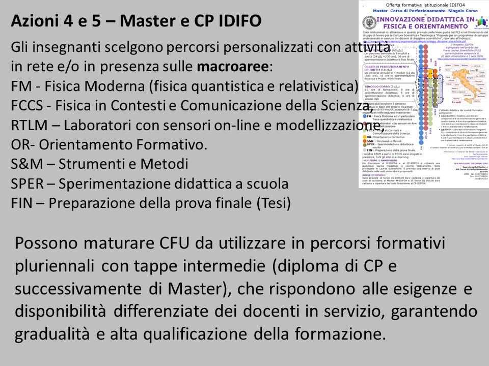 Azioni 4 e 5 – Master e CP IDIFO