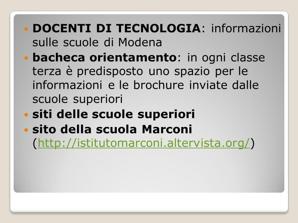 DOCENTI DI TECNOLOGIA: informazioni sulle scuole di Modena