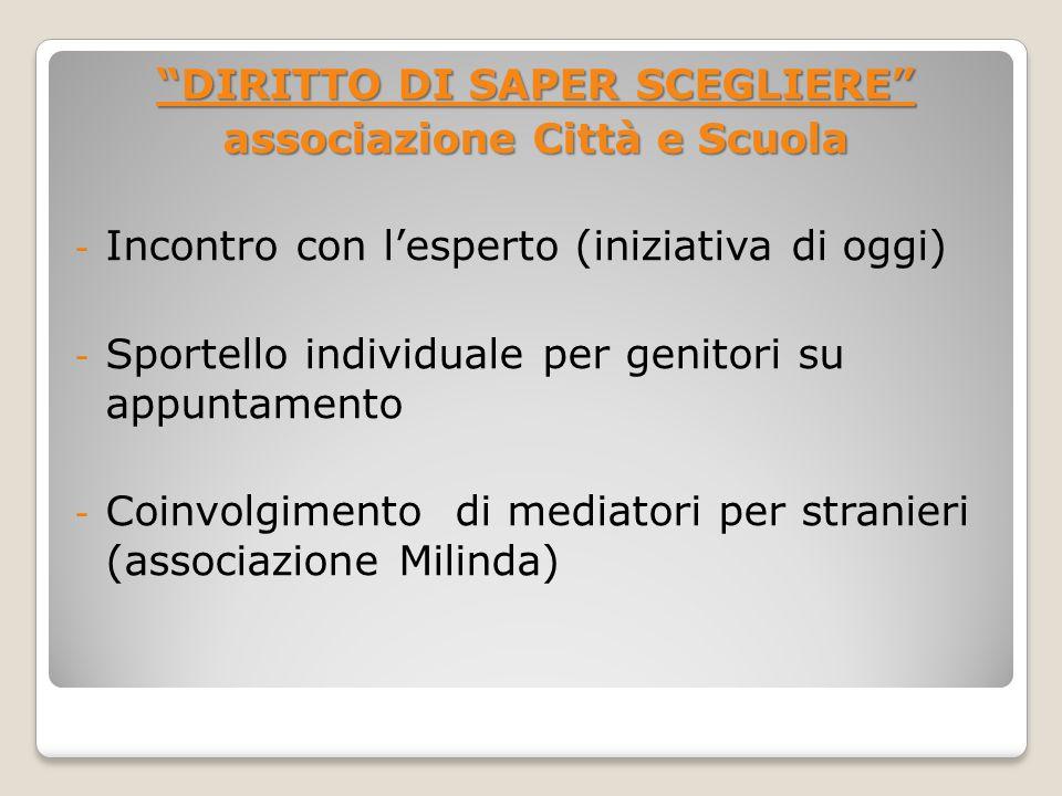 DIRITTO DI SAPER SCEGLIERE associazione Città e Scuola