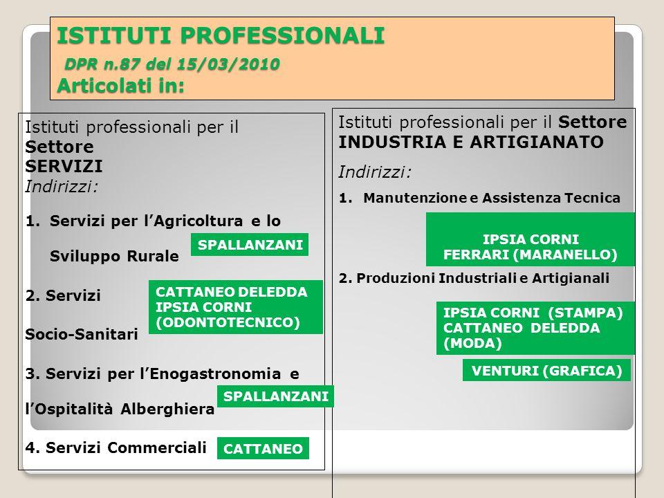 ISTITUTI PROFESSIONALI DPR n.87 del 15/03/2010 Articolati in: