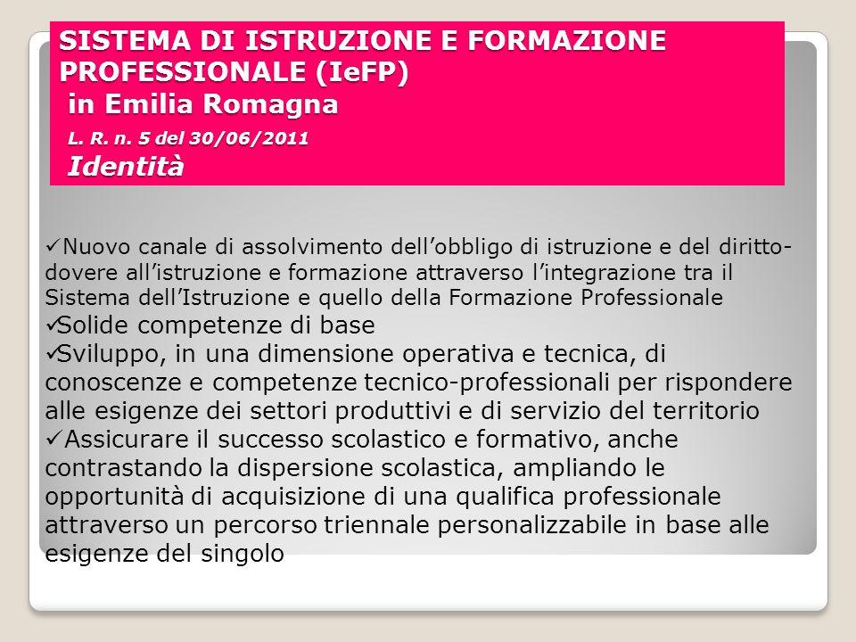 SISTEMA DI ISTRUZIONE E FORMAZIONE PROFESSIONALE (IeFP) in Emilia Romagna L. R. n. 5 del 30/06/2011 Identità