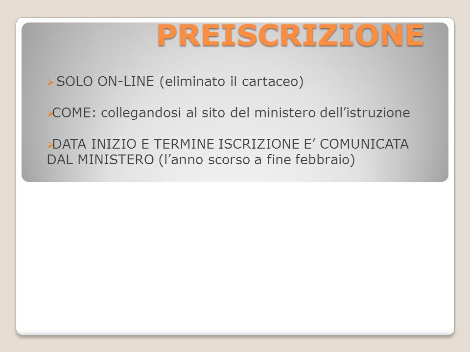 PREISCRIZIONE SOLO ON-LINE (eliminato il cartaceo)