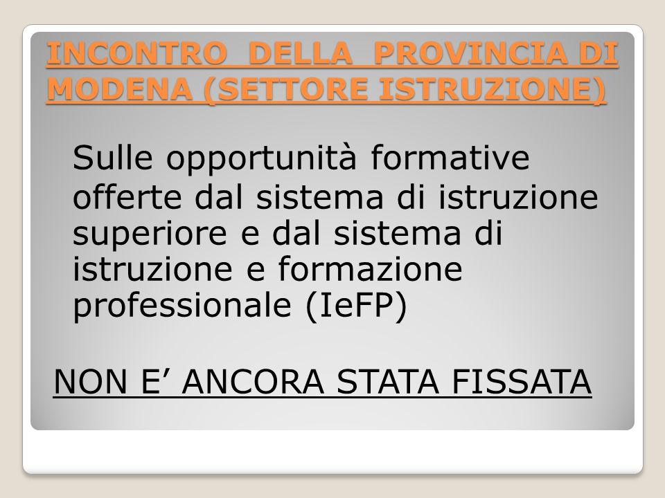 INCONTRO DELLA PROVINCIA DI MODENA (SETTORE ISTRUZIONE)