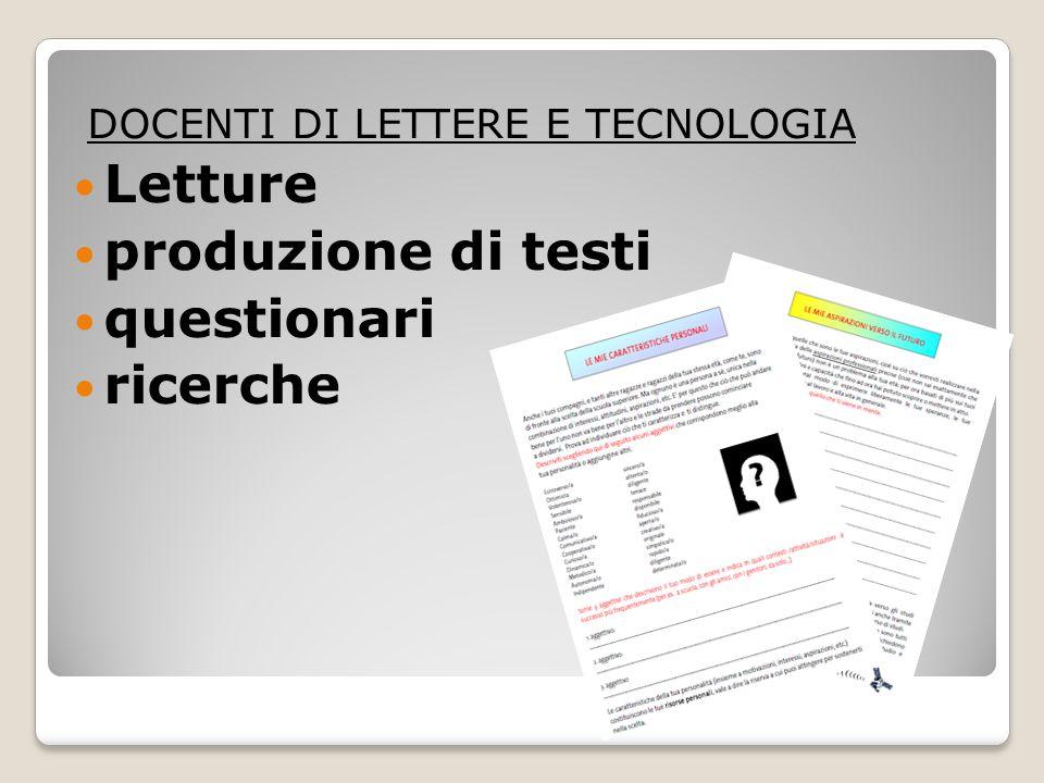 Letture produzione di testi questionari ricerche