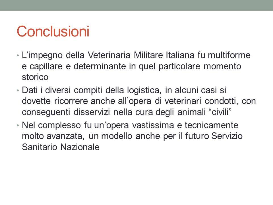 Conclusioni L'impegno della Veterinaria Militare Italiana fu multiforme e capillare e determinante in quel particolare momento storico.