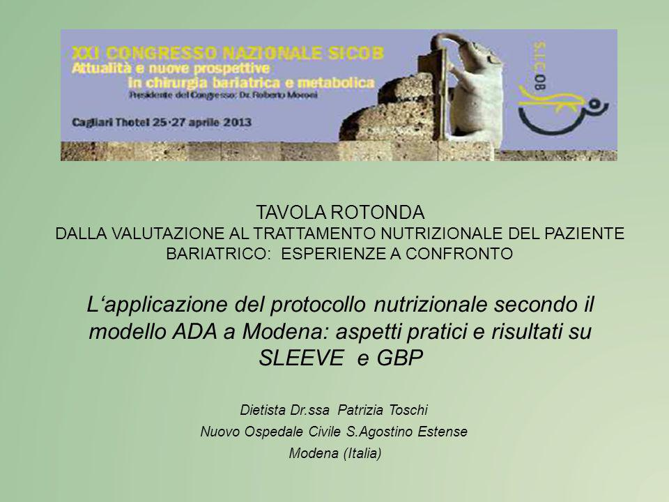 TAVOLA ROTONDA DALLA VALUTAZIONE AL TRATTAMENTO NUTRIZIONALE DEL PAZIENTE BARIATRICO: ESPERIENZE A CONFRONTO.
