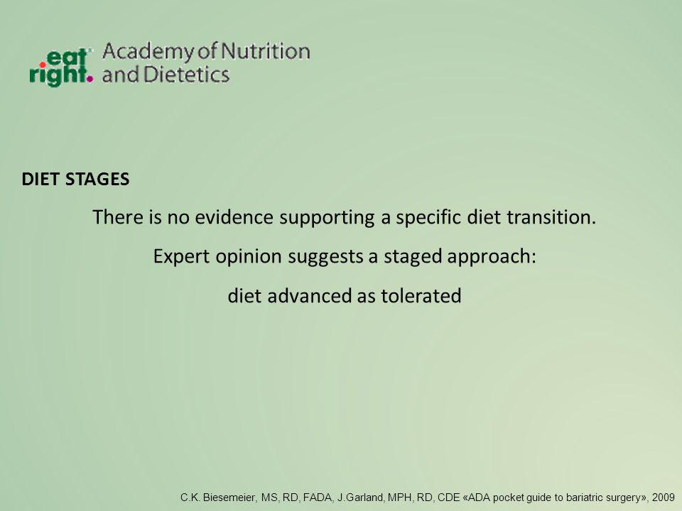 There is no evidence supporting a specific diet transition.