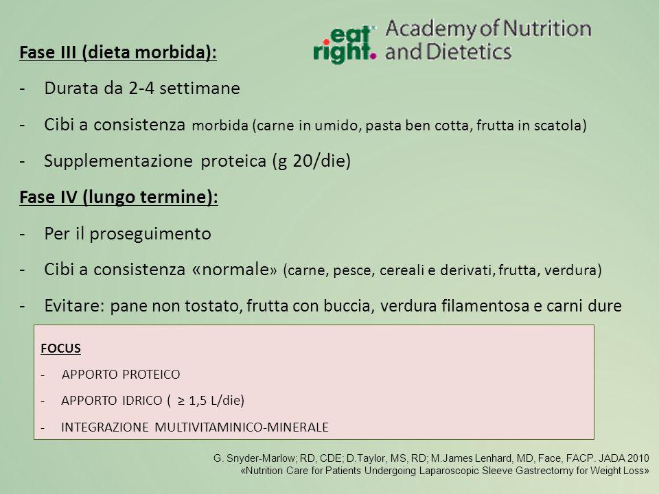 Fase III (dieta morbida): Durata da 2-4 settimane