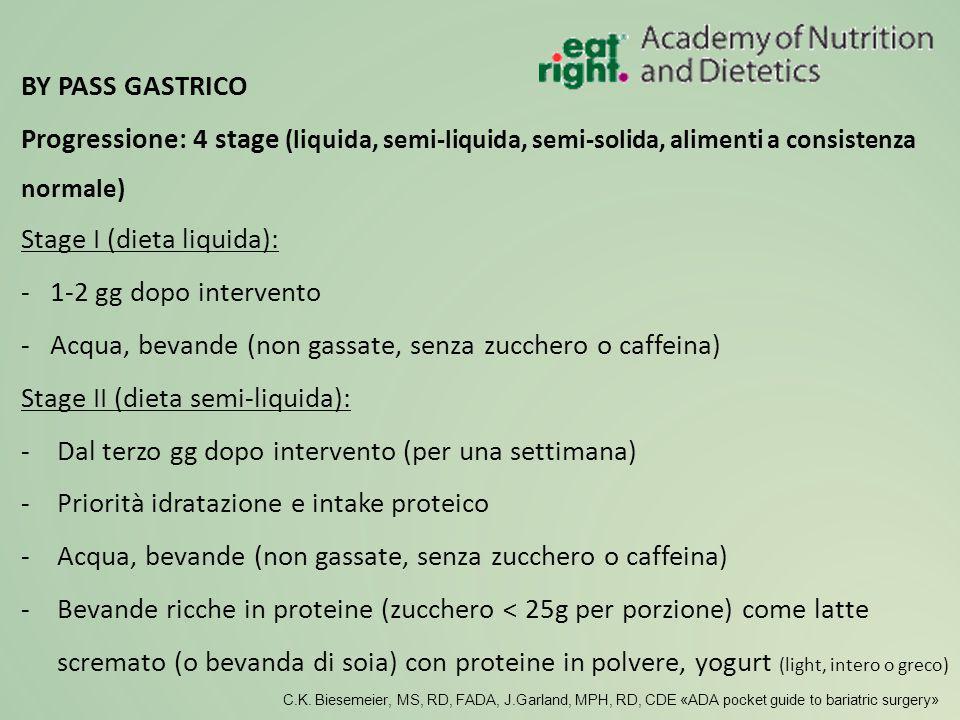 Stage I (dieta liquida): - 1-2 gg dopo intervento