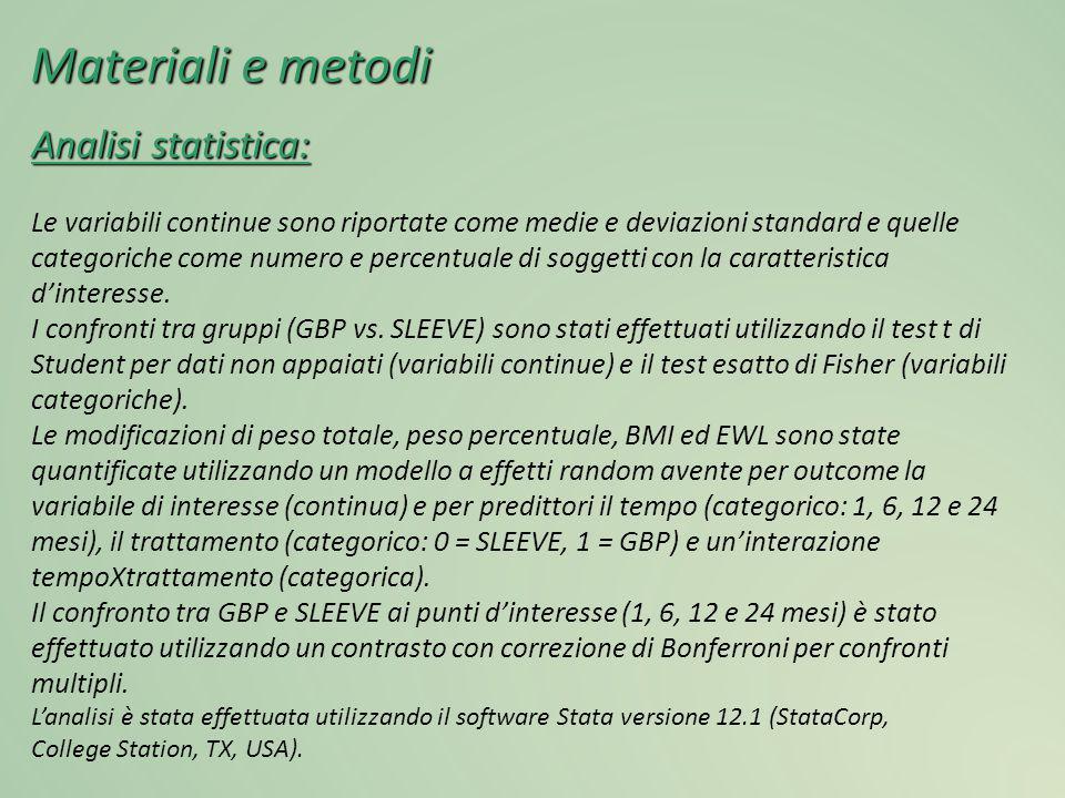 Materiali e metodi Analisi statistica: