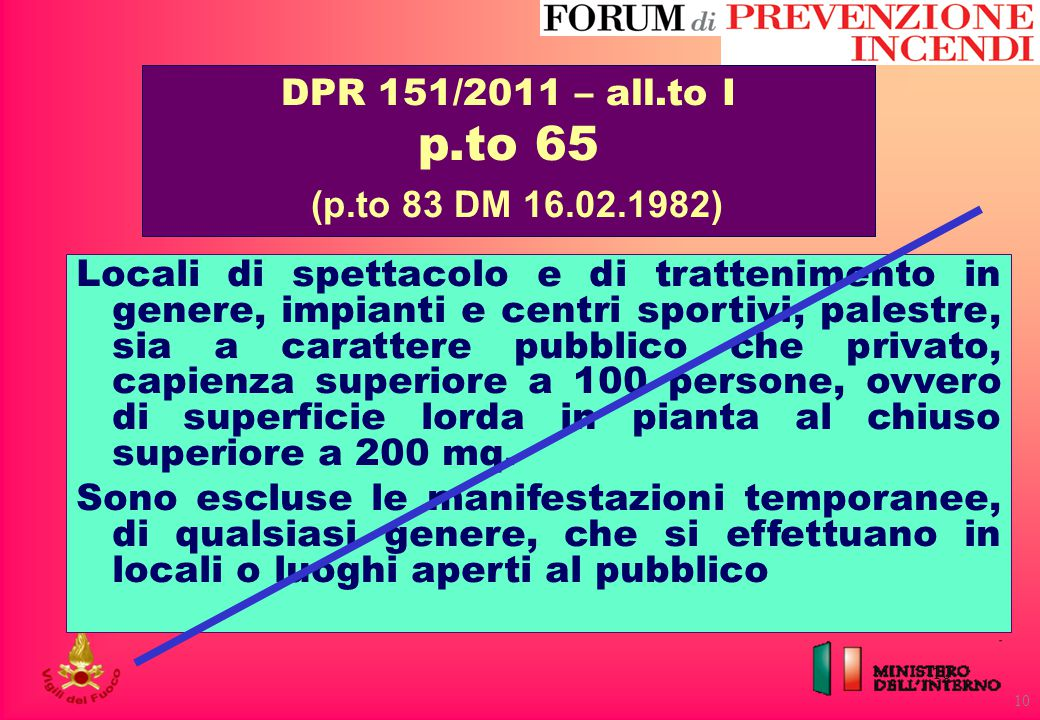 p.to 65 (p.to 83 DM 16.02.1982) DPR 151/2011 – all.to I