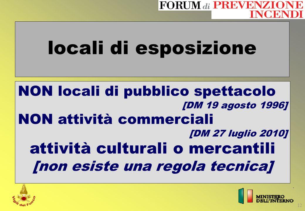 locali di esposizione attività culturali o mercantili