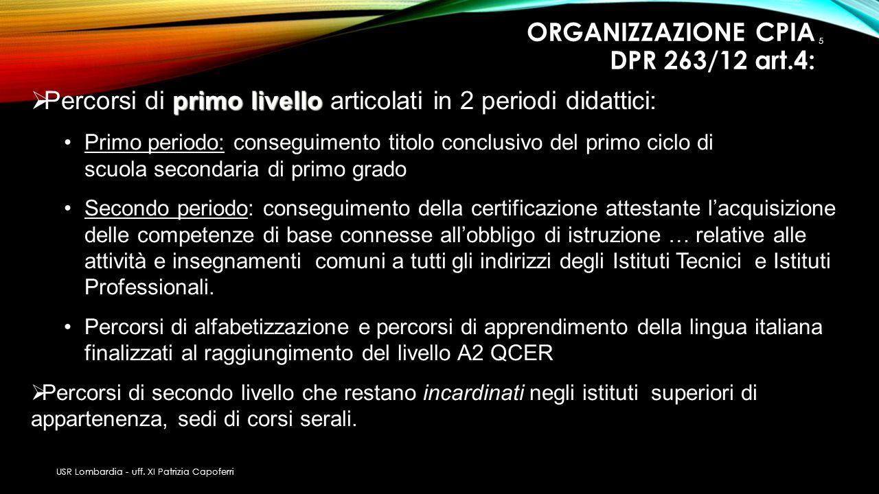 ORGANIZZAZIONE CPIA DPR 263/12 art.4: