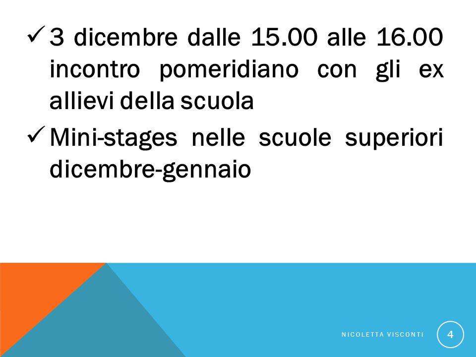 Mini-stages nelle scuole superiori dicembre-gennaio