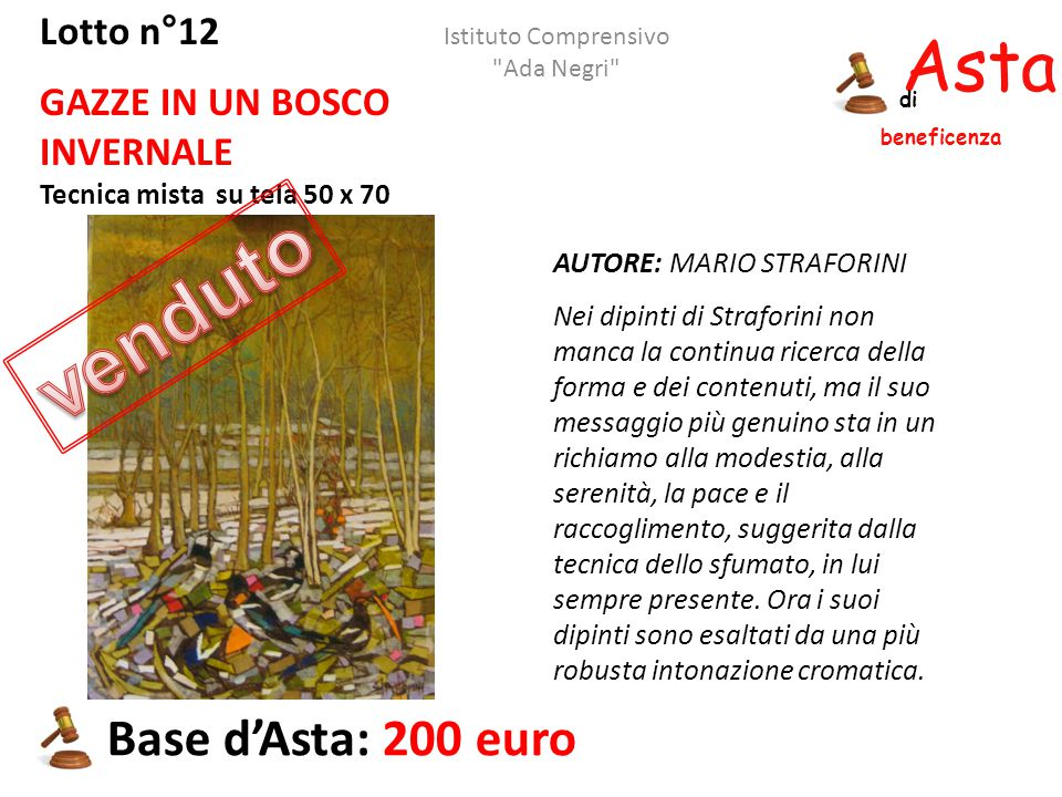 venduto Asta beneficenza Base d'Asta: 200 euro Lotto n°12