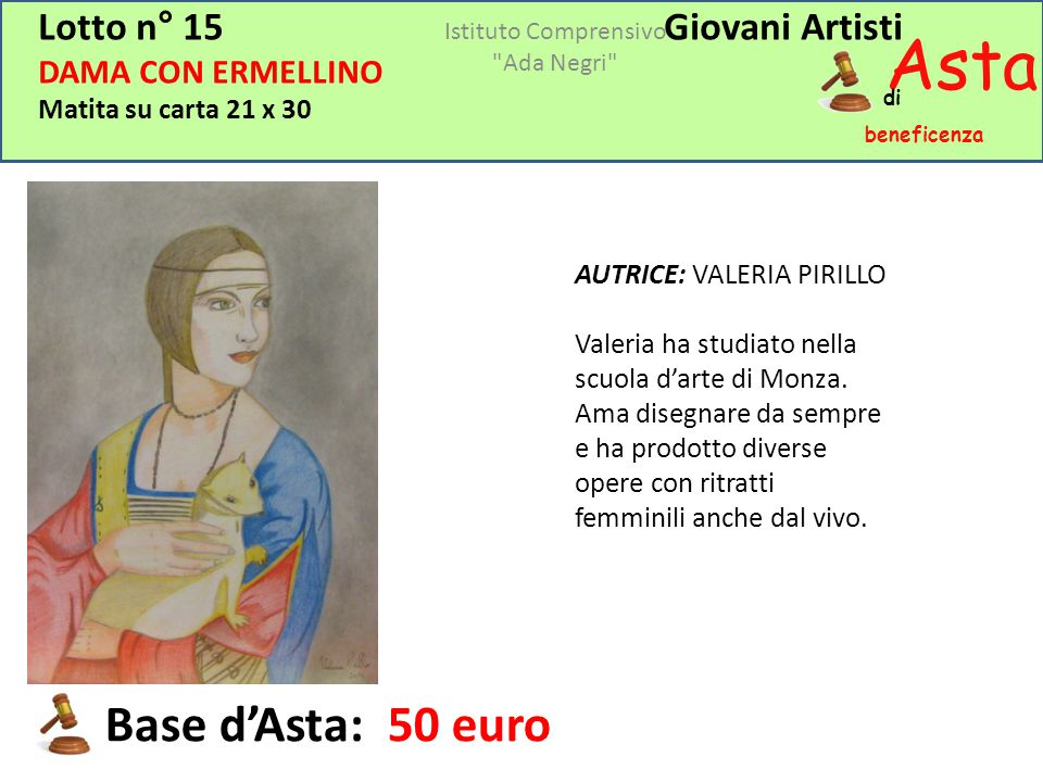 Asta beneficenza Base d'Asta: 50 euro Lotto n° 15 Giovani Artisti