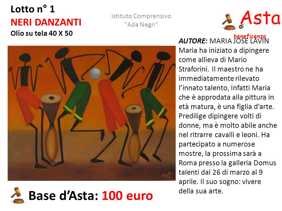 Asta beneficenza Base d'Asta: 100 euro Lotto n° 1 NERI DANZANTI
