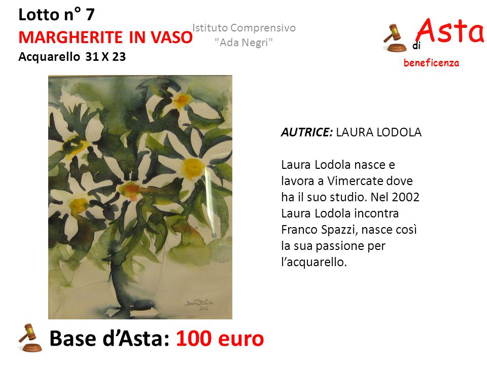 Asta beneficenza Base d'Asta: 100 euro Lotto n° 7 MARGHERITE IN VASO