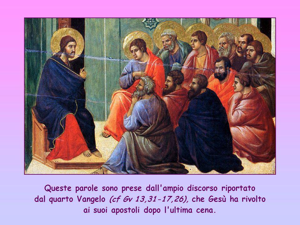 Queste parole sono prese dall ampio discorso riportato dal quarto Vangelo (cf Gv 13,31-17,26), che Gesù ha rivolto ai suoi apostoli dopo l ultima cena.