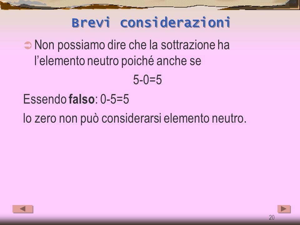 Brevi considerazioni Non possiamo dire che la sottrazione ha l'elemento neutro poiché anche se. 5-0=5.