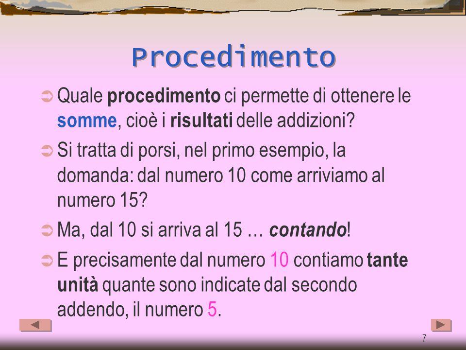 Procedimento Quale procedimento ci permette di ottenere le somme, cioè i risultati delle addizioni