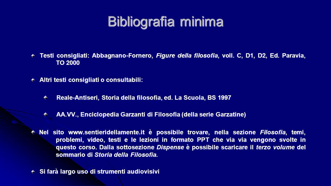 Bibliografia minima Testi consigliati: Abbagnano-Fornero, Figure della filosofia, voll. C, D1, D2, Ed. Paravia, TO 2000.