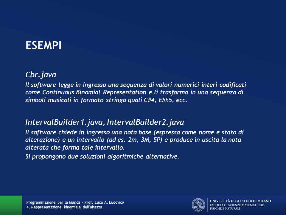 ESEMPI Cbr.java IntervalBuilder1.java, IntervalBuilder2.java
