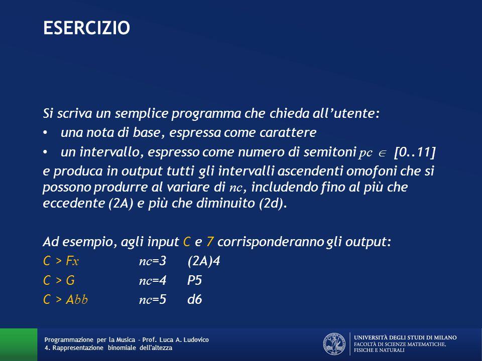EseRCIZIO Si scriva un semplice programma che chieda all'utente: