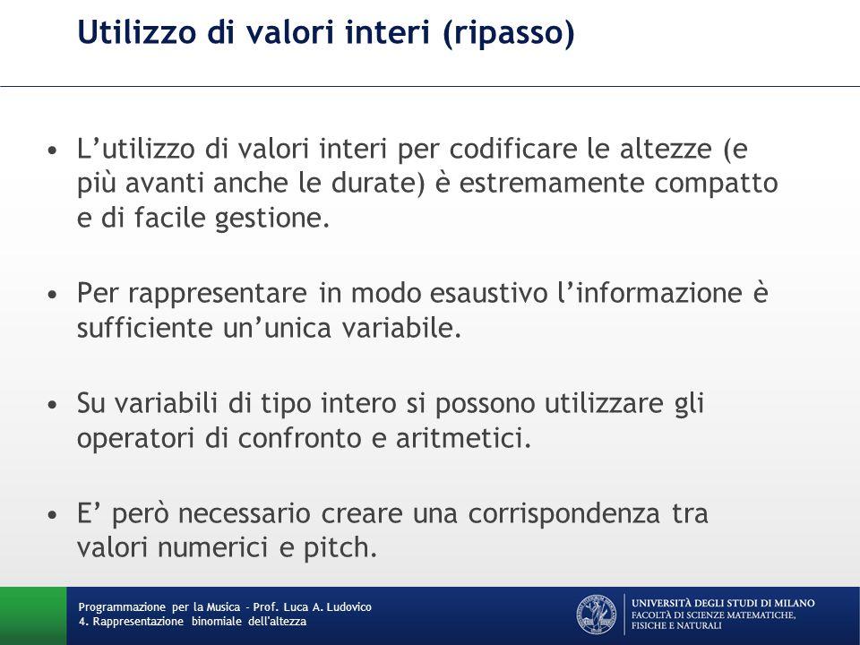 Utilizzo di valori interi (ripasso)