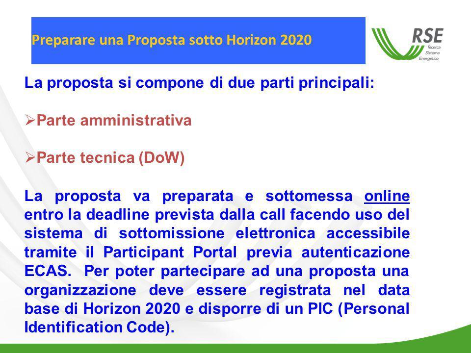La proposta si compone di due parti principali: Parte amministrativa