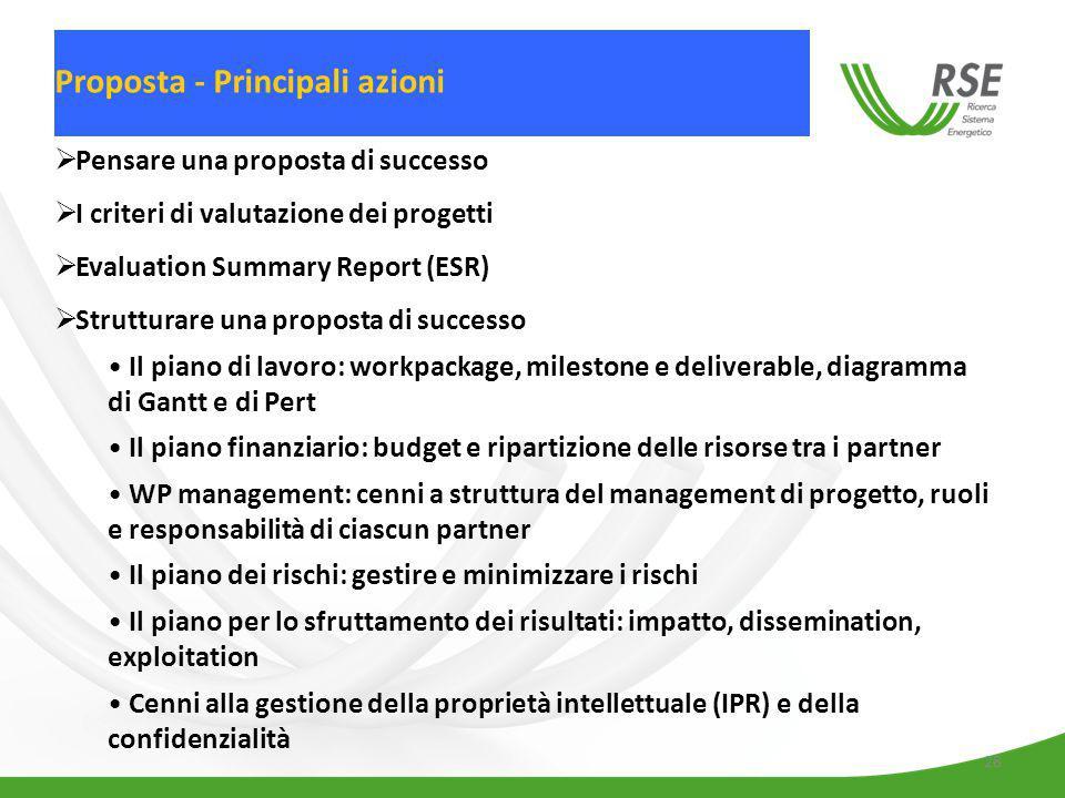 Pensare una proposta di successo I criteri di valutazione dei progetti