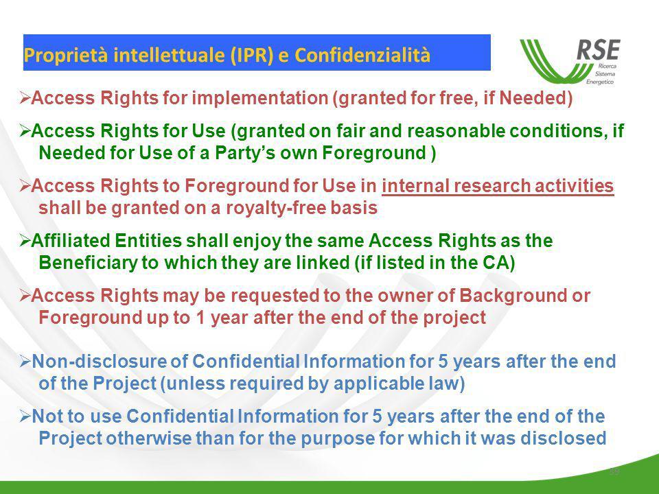 Proprietà intellettuale (IPR) e Confidenzialità
